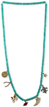Rachel Roy Gold-Tone Crystal Charm Beaded Necklace