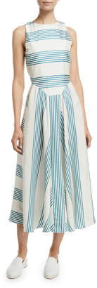 Loro Piana Sleeveless Striped Silk Midi Dress