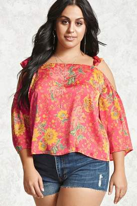 fc75e6c33d5 at Forever 21 · Forever 21 Plus Size Floral Satin Top