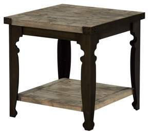 Emerald Home Valencia Reclaimed Pine and Black End Table with Plank Style Top, Metal Legs, And Open Shelf