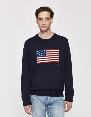 4c41c46680f5 Polo Ralph Lauren Icon American Flag Knit Sweater in Navy