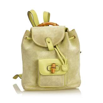 Gucci Vintage Bamboo Green Suede Backpacks 92e4d84186366