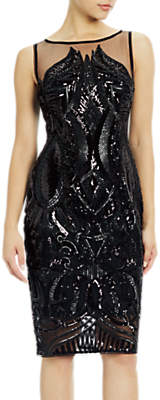 Adrianna Papell Petite Sequin Panel Illusion Cocktail Dress, Black