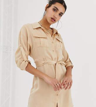 Missguided exclusive satin tie waist utility shirt dress in cream