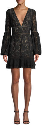 Misha Harper Bell-Sleeve Lace Mini Dress