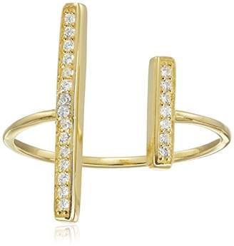 Jardin Look-of-Real Jewelry 0.50cttw Pave Cubic Zirconia Bars Gap Ring
