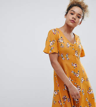 Miss Selfridge Petite Floral Print Button Front Swing Dress