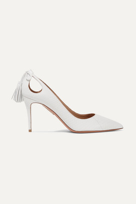 Aquazzura Forever Marilyn 85 Cutout Tasseled Elaphe Pumps - White