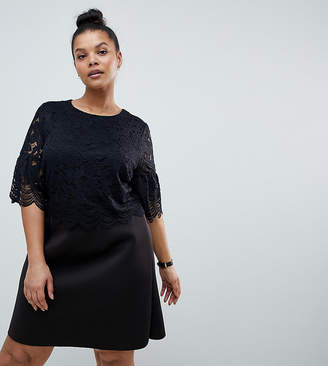 Asos DESIGN Curve lace crop top scallop mini dress