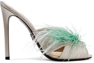 Prada - Feather-embellished Satin Mules - Silver $785 thestylecure.com