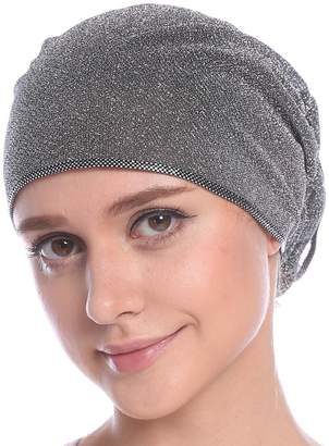 ACSEER Women's Ruffle Chemo Hat Beanie Scarf, Turban Headwear for Cancer