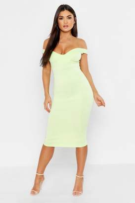 c837c50a25 boohoo Sweetheart Off Shoulder Midi Bodycon Dress