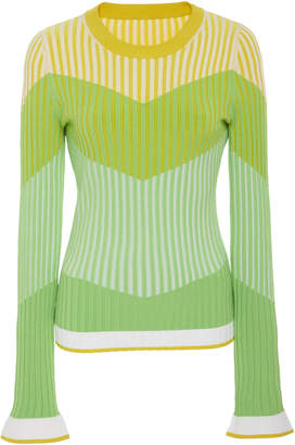Prabal Gurung Striped Ribbed-Knit Top
