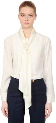 Tory Burch Silk Satin Blouse With Bow Collar