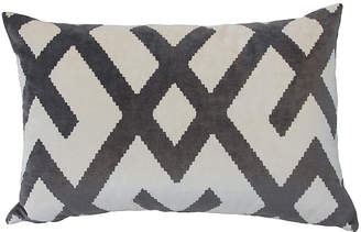 The Piper Collection Marlowe 24x16 Velvet Pillow - Gray/White