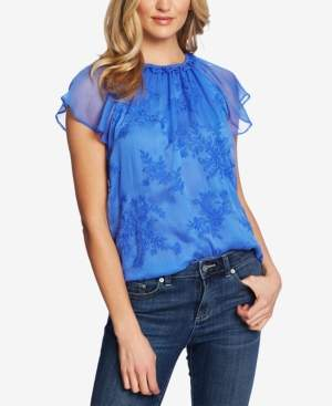 CeCe Ruffle-Neck Embroidered Top
