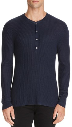 John Varvatos Collection Silk Cashmere Waffle Knit Henley Sweater $348 thestylecure.com