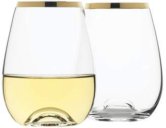 Set of 4 Selene Gold Trim Stemless Wine Glasses