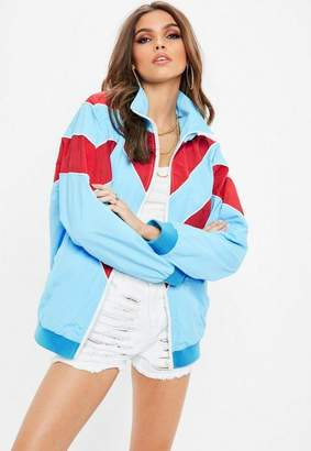 Missguided Blue Colour Block Wind Breaker Jacket