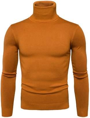 Elonglin Mens Basic Knitted Turtleneck Sweater Jumper Pullover Cotton Lightweight Autumn Winter