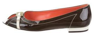 Bettye Muller Patent Leather Peep-Toe Flats