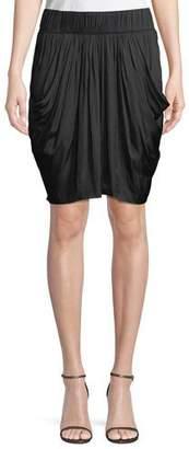 Halston Ruched-Waist Flowy Knee-Length Skirt