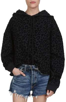 The Kooples Oversized Leopard Cotton Hoodie