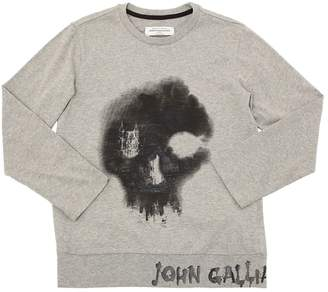 John Galliano Skeleton Print Cotton Jersey T-Shirt