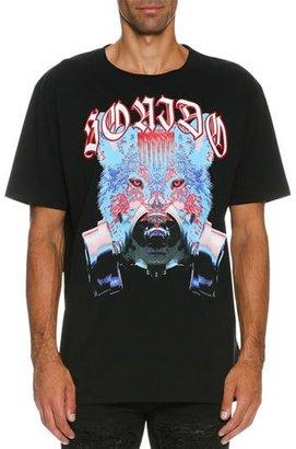 Marcelo Burlon Tomas Wolf-Print T-Shirt, Black/Blue $265 thestylecure.com