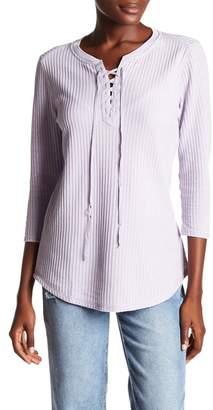 Seven7 Lace Up Waffle Knit Shirt