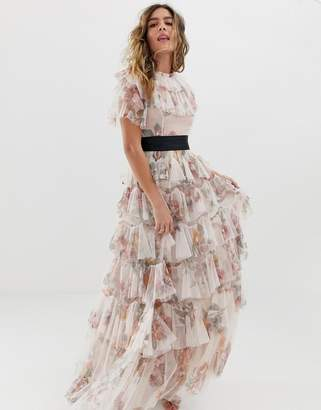 Needle & Thread tiered floral maxi dress with contrast waistband in rose quartz