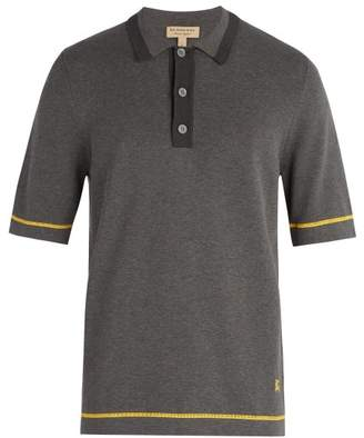 Burberry - Tri Tone Cotton Jersey Polo Shirt - Mens - Grey