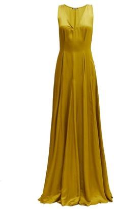 Ann Demeulemeester Nanette V Neck Faille Maxi Dress - Womens - Dark Yellow