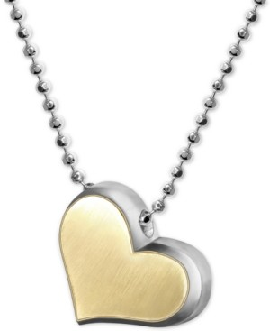 """Alex Woo Fusion Heart 16"""" Pendant Necklace in Sterling Silver & 18k Gold"""