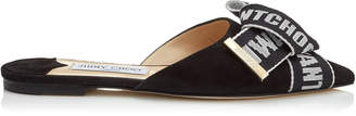 Jimmy Choo GRETCHEN FLAT Black Suede Pointy Toe Mules with Black and Chalk Logo Tape Bow
