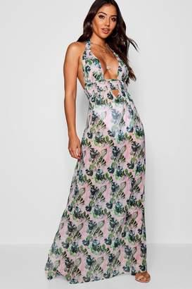 boohoo Banana Leaf Maxi Dress