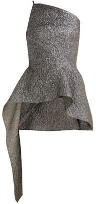 Roland Mouret Asymmetric Peplum Cloque Top - Womens - Silver