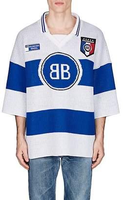 Balenciaga Men's BB Jacquard Cotton-Blend Rugby Sweater