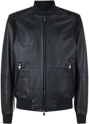 HUGO BOSS Leather and Suede Bomber Jacket