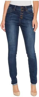 Jag Jeans Gwen Skinny High-Rise Jeans in Crosshatch Denim in Thorne Blue Women's Jeans