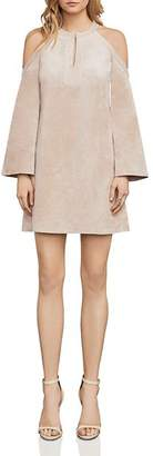 BCBGMAXAZRIA Laguna Cold-Shoulder Faux Suede Dress