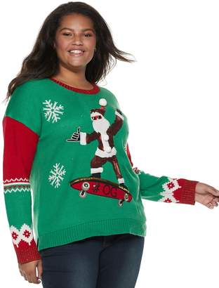 It's Our Time Its Our Time Juniors' Plus Size Skateboard Santa Christmas Sweater