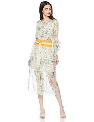 Elise Bloom Women's Elegant Chiffon Round Collar Dress (A Belt)