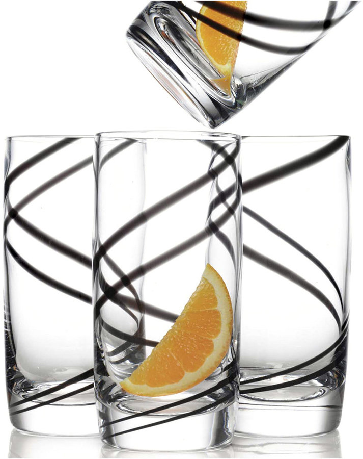 Luigi Bormioli Black Swirl 18 oz Highball Glass, Set of 4
