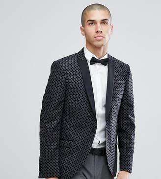 Heart & Dagger Skinny Flocked Wool Mix Tuxedo Blazer