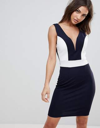 Wal G Midi Dress With Deep Sweetheart Neckline And Contrast Panels