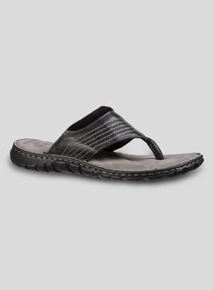 11fa42239ec5 Tu Sole Comfort Black Leather Toe Post Sandals