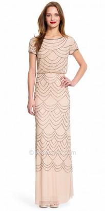 Adrianna Papell Short Sleeve Beaded Blouson Evening Dress $209 thestylecure.com