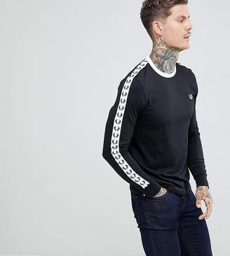 Fred Perry Sports Authentic long sleeve taped ringer t-shirt in black