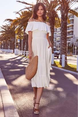 Lipsy Cold Shoulder Tiered Midi Dress - 6 - White